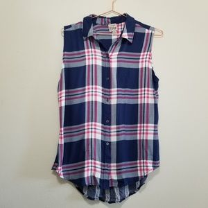 Como vintage plaid striped button up tank top
